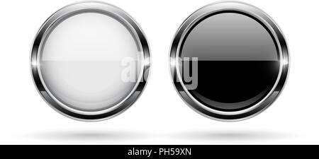 Black and white round buttons. Glass 3d shiny icons with chrome frame - Stock Photo