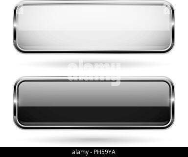 Black and white square glass 3d buttons with metal frame - Stock Photo