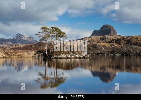 Suilven from Loch Druim Suardalain, Assynt, Scotland - Stock Photo