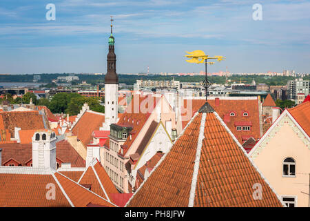 Tallinn roof, view across the orange tiled roofs of the medieval Old Town quarter in the centre of Tallinn, Estonia. - Stock Photo