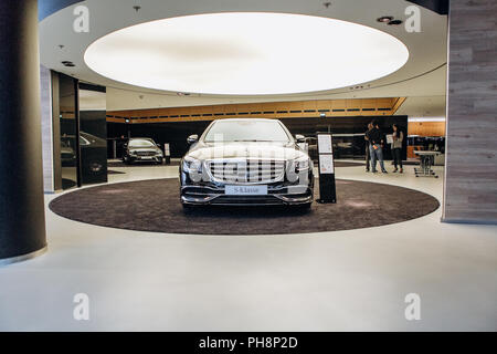 Berlin, August 29, 2018: Mercedes-Maybach car which is exhibited and sold in the official dealer's center in Berlin. Luxury branded expensive car. - Stock Photo