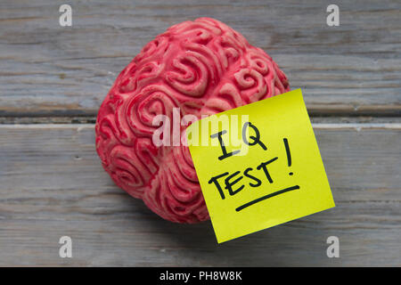 IQ test label stuck on a brain - Stock Photo