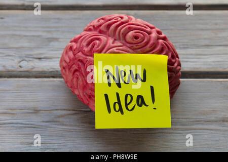 New idea label stuck on a brain - Stock Photo