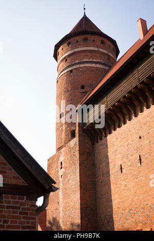 Fourteenth-century Gothic Castle of Warmian Bishops in Olsztyn, Poland - Stock Photo