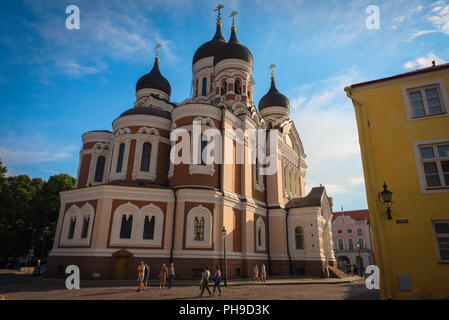 Tallinn cathedral, ground-level view of the Alexander Nevsky Orthodox Cathedral sited on Toompea Hill in the centre of Tallinn, Estonia. - Stock Photo