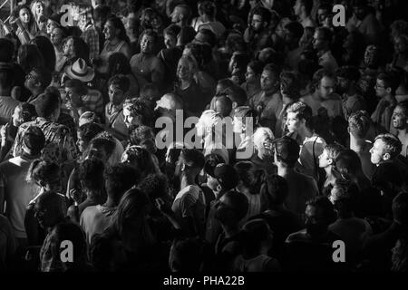 Imperia, Italy, 03.08.2018: group of people during an electronic music concert organized in the City of Imperia. - Stock Photo