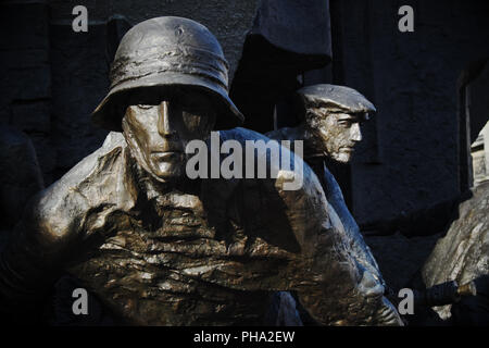 Warsaw Poland detail of the Warsaw Uprising Monument in Krasinski Square in honour of the Warsaw Uprising of 1944 - Stock Photo