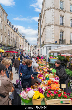 Saturday market in the old town, Vannes, Brittany, France - Stock Photo