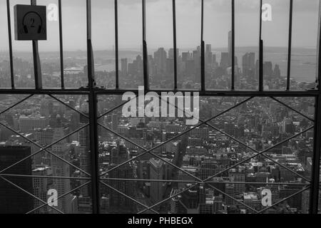 A view to Lower Manhattan from Empire state buliding observation deck - Stock Photo