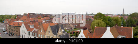 Panorama in the central part of Bruges. - Stock Photo