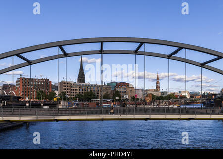 hamburg bridges at the Elbe - Stock Photo