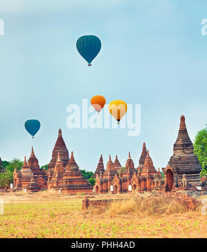 Balloons over Temples in Bagan. Myanmar. - Stock Photo