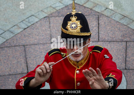Moscow, Russia. 1st September 2018. Members of the the Brentwood Imperial Youth Band participating in the 2018 Spasskaya Tower International Military Music Festival, perform at the Tsaritsyno park in Moscow Credit: Nikolay Vinokurov/Alamy Live News - Stock Photo