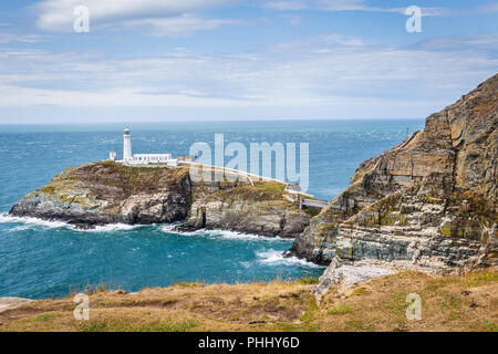South Stack lighthouse on Anglesey, Wales, UK - Stock Photo