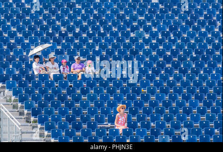 a group of five people sitting in the blue bleachers and one woman sittling alone - Stock Photo