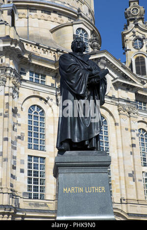 Dresden. Martin Luther monument in front of Frauenkirche cathedral. - Stock Photo