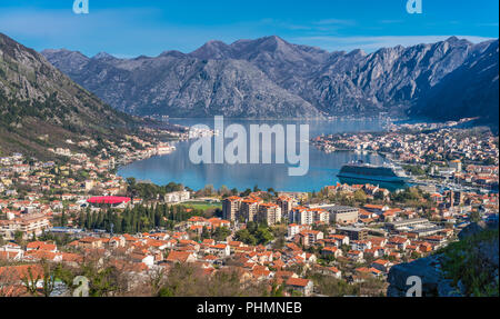 Stunning landscape of the Bay of Kotor - Stock Photo