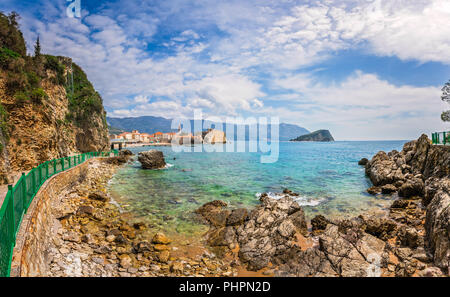 Panorama of the coast near Budva - Stock Photo