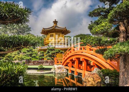 The golden pavilion in Nan Lian Garden, Hong Kong. - Stock Photo