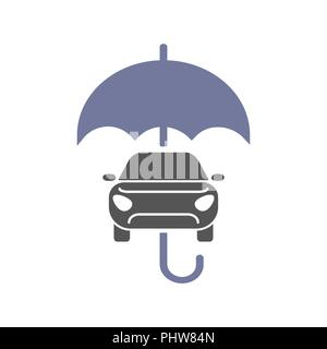 Car insurance sign icon. Protection symbol. Car and umbrella vector flat icon. - Stock Photo