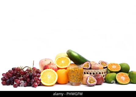 Group of fruits and vegetables isolated on a white background - Stock Photo