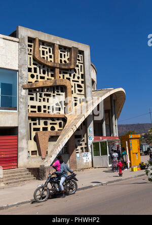 Old portuguese colonial building of the cine teatro Arco Iris, Huila Province, Lubango, Angola - Stock Photo