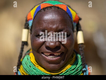 Mumuhuila tribe woman portrait, Huila Province, Chibia, Angola - Stock Photo