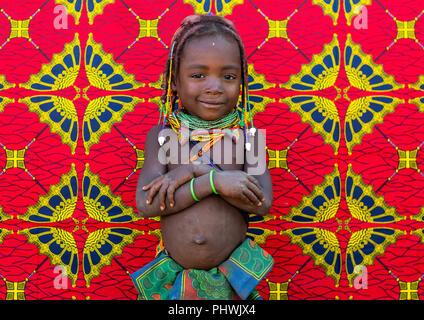 Mumuhuila tribe girl portrait, Huila Province, Chibia, Angola - Stock Photo