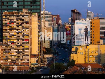 Buildings along the Marginal promenade called avenida 4 de fevereiro, Luanda Province, Luanda, Angola - Stock Photo