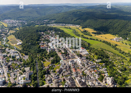 Overview of the old town mountain with Neumarkt, Arnsberg, Sauerland, North Rhine-Westphalia, Germany, DEU, Europe, aerial view, birds-eyes view, aeri - Stock Photo