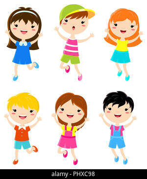 Happy kids jumping. Boys and girls in summer clothes. Vector set of cartoon characters in flat style. EPS8 - Stock Photo