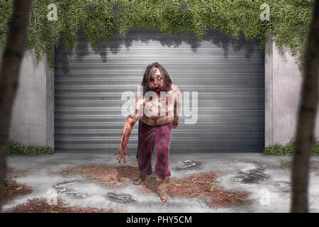 Scary zombie man with blood standing in front of old building on the city - Stock Photo