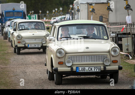 All though the first Trabants rolled out of the VEB Sachsenring Automobilwerke Zwickau factory in Saxony , Eastern Germany on 7 November 1957. This ye - Stock Photo