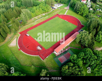 Small province stadium in spring from drone, aerial view - Stock Photo