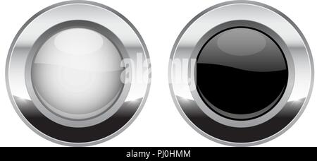 Black and white round buttons. Glass 3d shiny icons with wide metal frame - Stock Photo