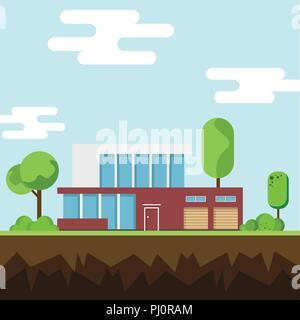 A modern houses and environment with tree, clouds, bird and along the roads, Modern building and architecture, Flat home vector illustration. - Stock Photo