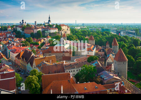 Tallinn roof, view across the orange tiled roofs of the medieval Old Town quarter and Lower Town Wall (right) in the centre of Tallinn, Estonia. - Stock Photo