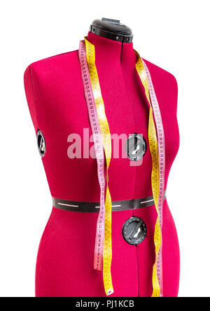 female form dummy with two measuring tapes cut out on white background - Stock Photo