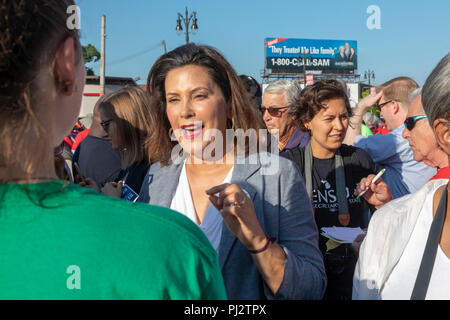 Detroit, Michigan - 3 September 2018 - Gretchen Whitmer, the Democratic candidate for governor of Michigan, campaigns at Detroit's Labor Day parade. - Stock Photo