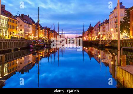 Panorama of Nyhavn in Copenhagen, Denmark. - Stock Photo