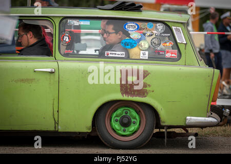 Tight fit in the back of this Trabant at the Zwickau Trabant annual Rally. In Zwickau, Saxony, Germany. - Stock Photo
