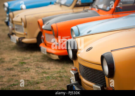 Trabants at the Zwickau annual rally in Saxony, Germany. - Stock Photo