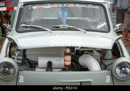 A Trabant with engine on show at the Zwickau Trabant Club annual rally. - Stock Photo