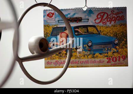 A Trabant Calendar for Sale at a Trabant Rally in Zwickau, Saxony, Germany - Stock Photo