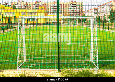 Sports field for minifootball and football gates close-up in a residential area, Kiev, Ukraine. The concept of street sports development. Outdoors. - Stock Photo
