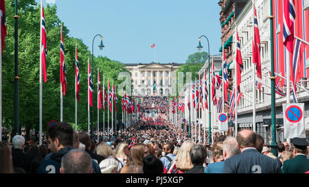 Norwegian Constitution Day, as seen from Karl Johans Gate, Oslo - Stock Photo