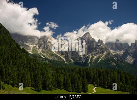 Pala Group from Malga Ces (San Martino di Castrozza, Province of Trento, Italy) - Stock Photo