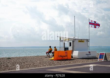 Lifeguards and lifeguard station on the beach at Southsea Hampshire England UK - Stock Photo