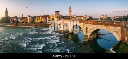 Bridge in Verona at the morning. Italy. - Stock Photo