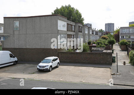 Housing at Thamesmead, southeast London, the famous 1960s social housing project developed by the Greater London Council - Stock Photo